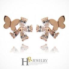 14K 핑크 NO.6030 꽃 나비 귀걸이